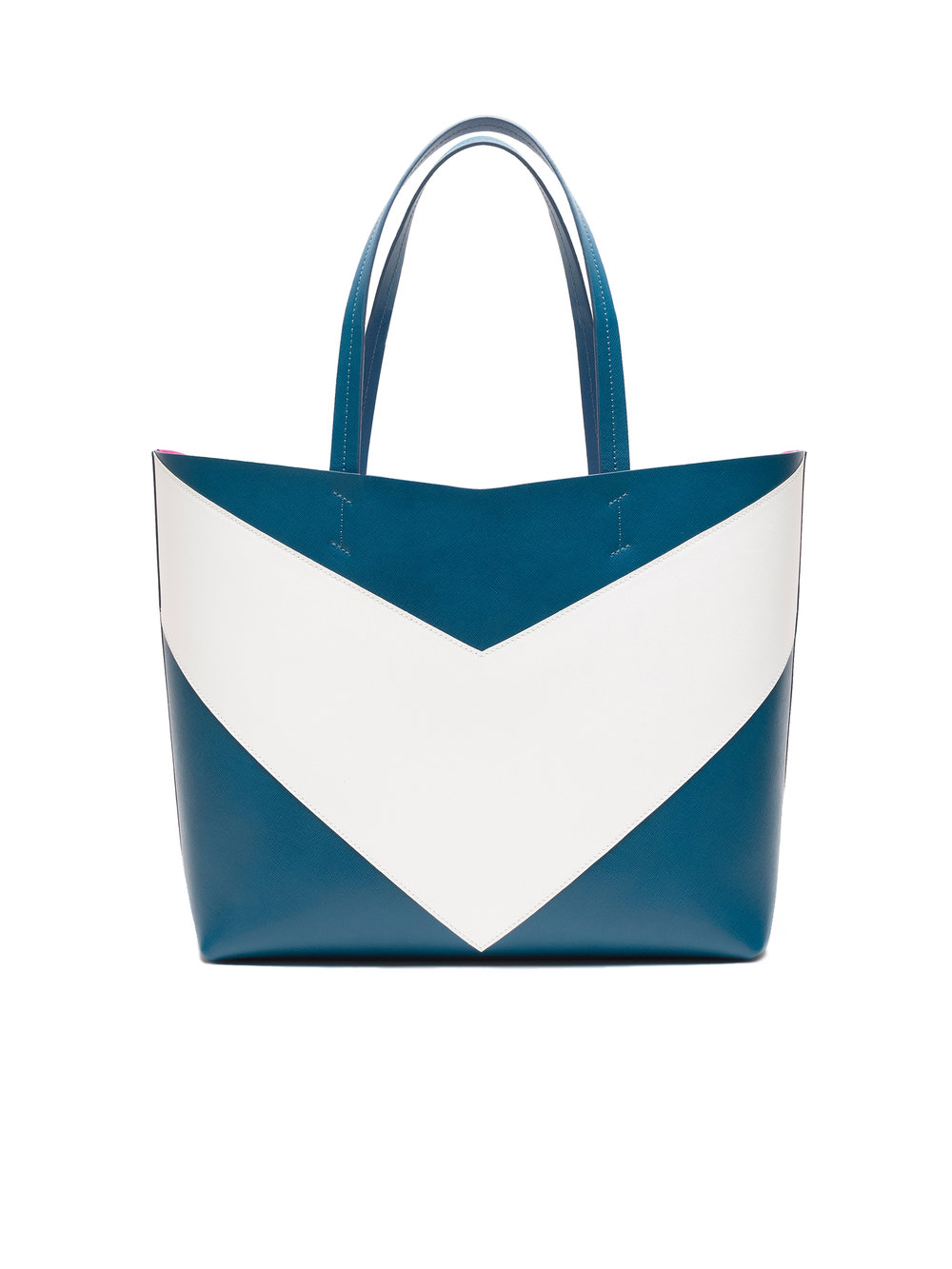 Pragmantica L - Petrol/White - Petrol saffiano leather & white saffiano leatherCyclamen suede interior with Two Internal pocket W 40 x H 30 x D 16,5 cm