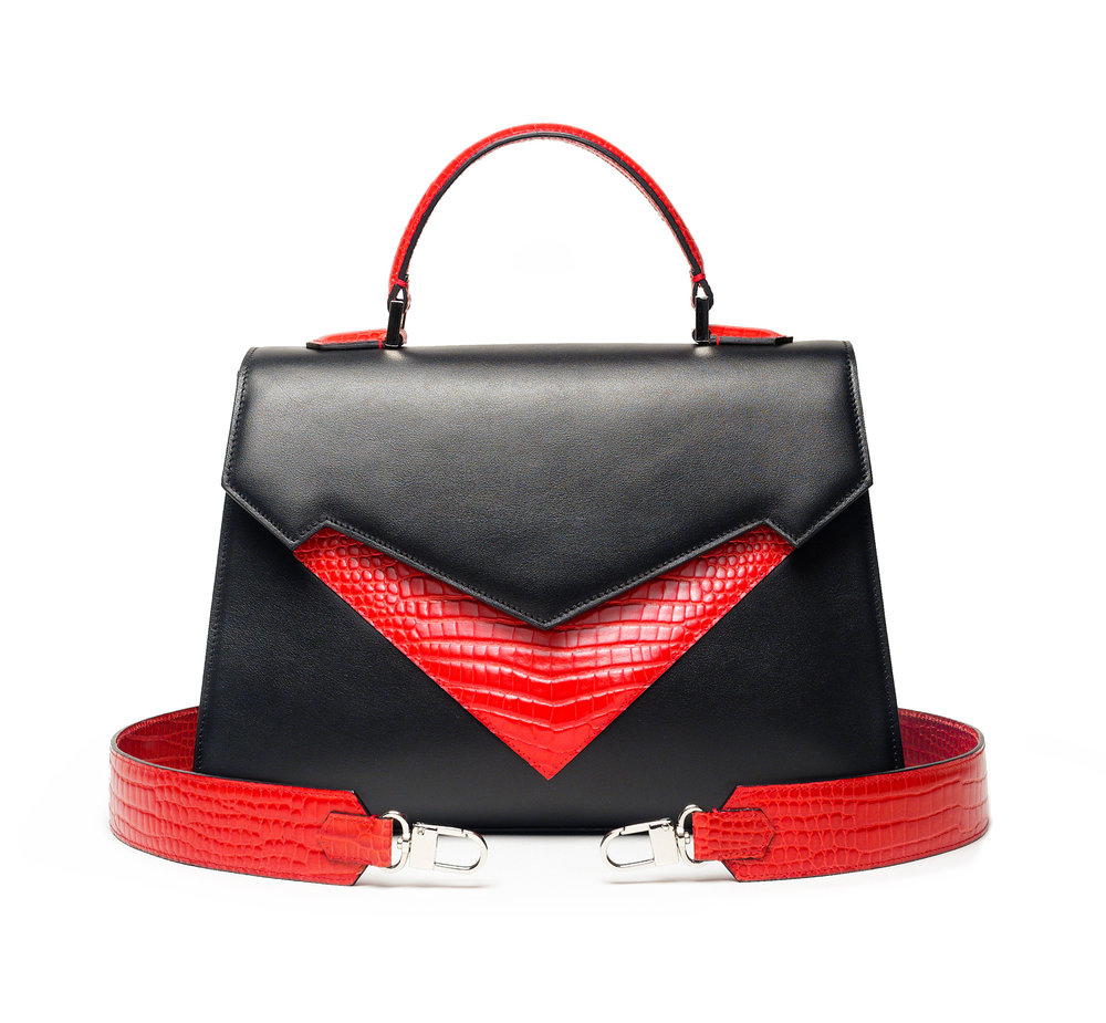Pragmantica M - Black/Red Cocco - Black and Red crocodile embossed calfskin leather | Cyclamen calfskin leather interiorInternal and External pocket | Magnetic closure | Detachable leather shoulder strap W 31,5 x H 31 x D 12,5 cm