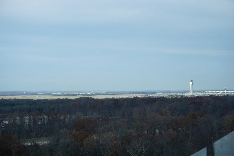 The view from the observation deck - you can see planes flying in and out of Dulles International Airport (IAD) while listening to the air traffic controllers.