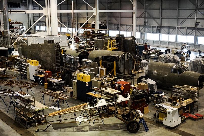 Looking into the Mary Baker Engen Restoration Hangar