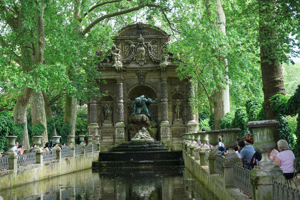 Medici Fountain in Luxembourg Garden, with giant Polyphemus spying on Acis and Galatea.