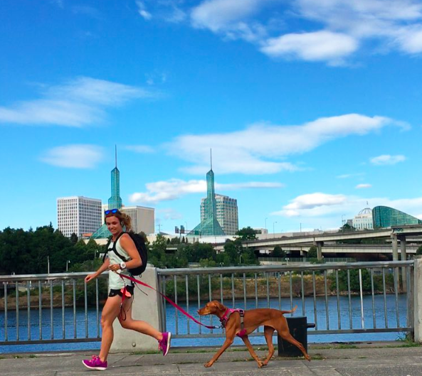 When Jamie's not teaching and doing all the yoga and HIIT Yoga, she's running through the streets and trails with her run bud, Abbie.