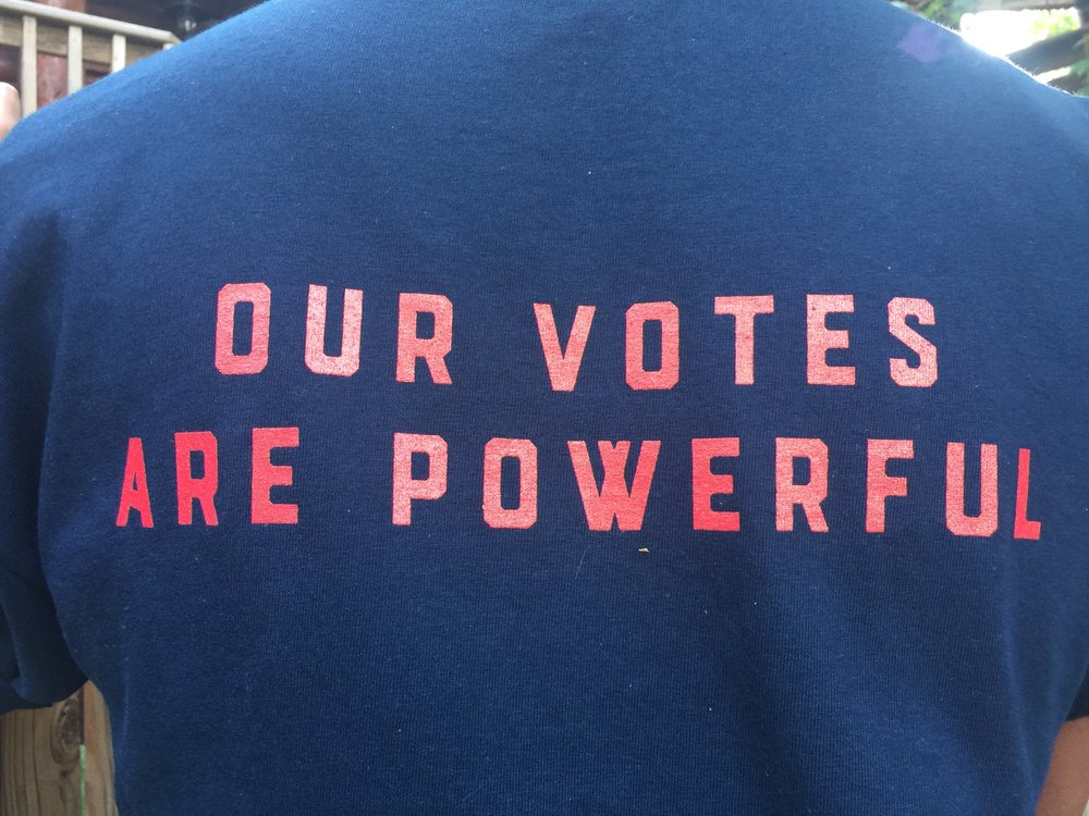 October 2017 - The first t-shirts HWM printed have an essential message for women and progressives: our votes are powerful!