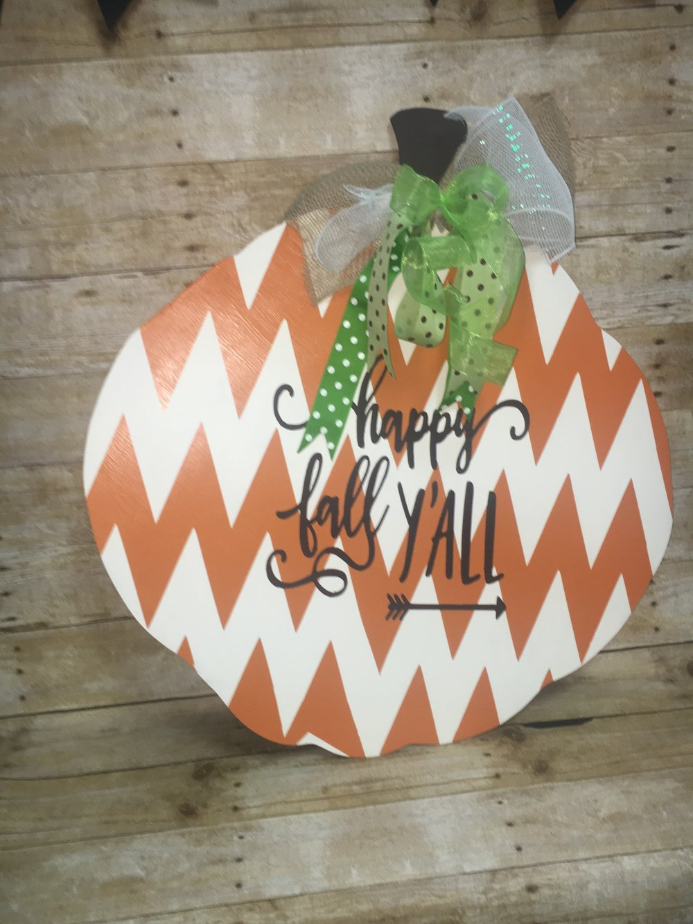 Pumpkin Door Hanger - $35 -$45 various sizes and designs available, reversible design also available for $10