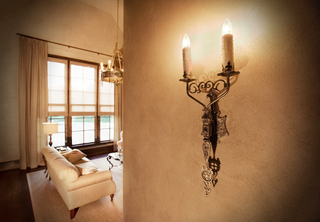 Model No. 1099 El Mirado sconces Antique Brass Finish. (Photo courtesy of  Postcard From Paris , Greenville SC)