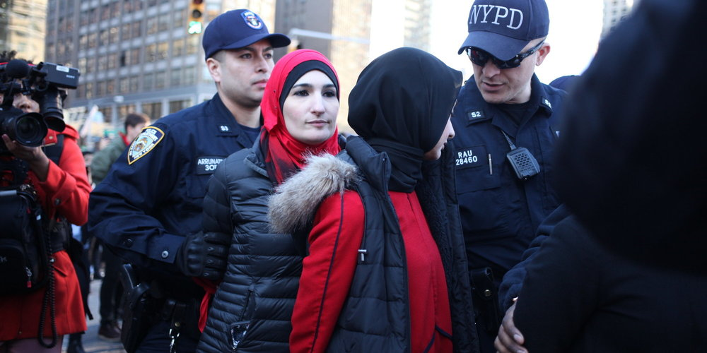 Linda Sarsour,co-chairwoman of the event, was among those arrested at Trump Tower