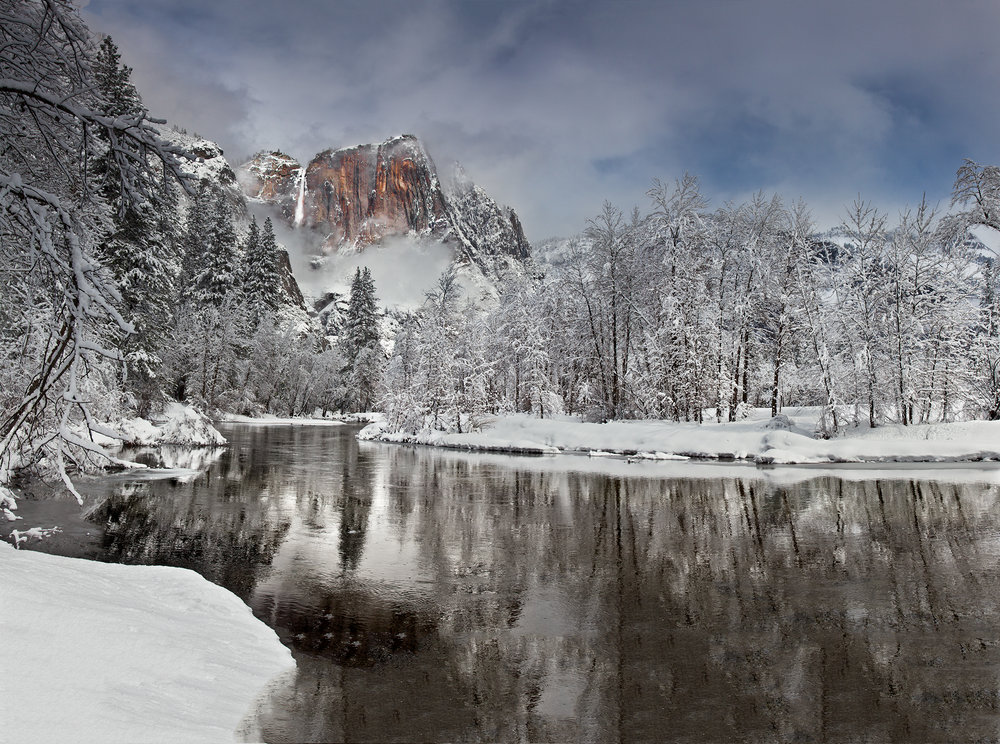 Yosemite Falls and Winter Reflection (7288-92)