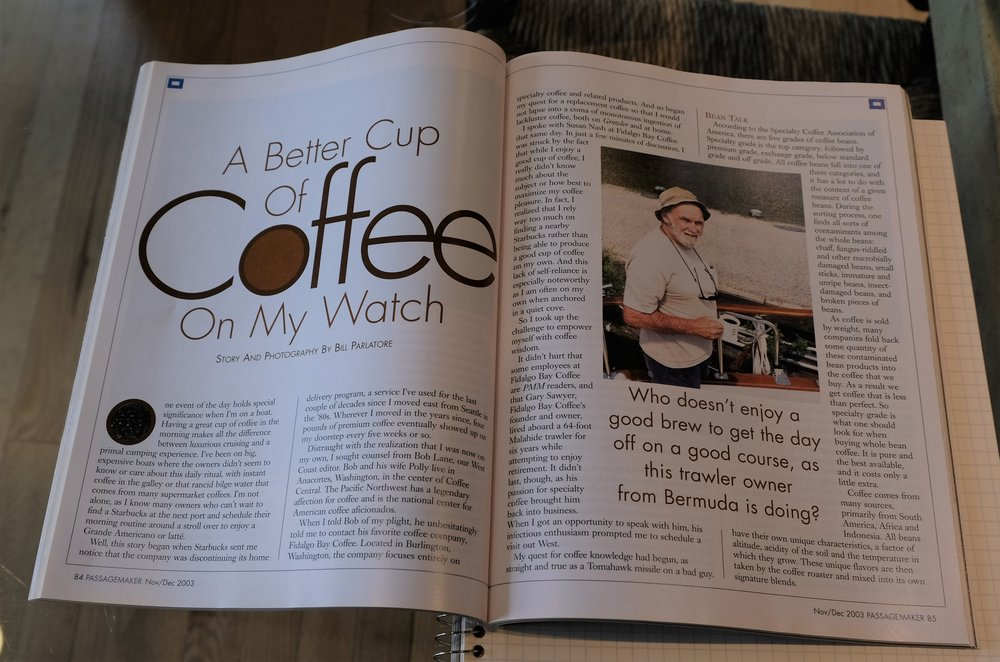 PMM , December 2003. Who writes about coffee in a boating magazine!?! The perks of being in charge of editorial...