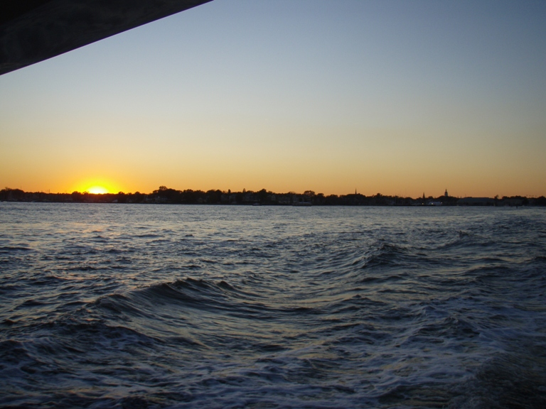 Sunset as we leave Annapolis Harbor after the chaos of the boat show breaking up. Off to Florida!