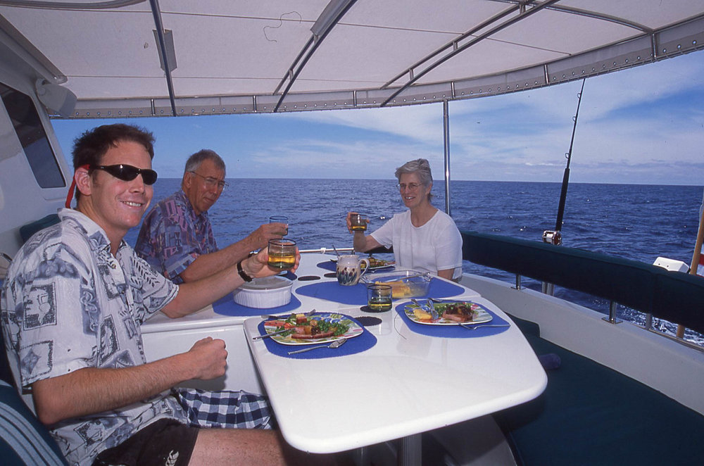 Easter dinner aboard Nordhavn 62  Rover  somewhere in the South Pacific northeast of Hiva Oa.