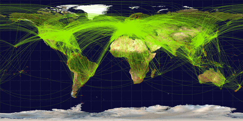 With a couple of exceptions, the spider web of air traffic routes of commercial passenger and cargo aircraft crisscross the traditional cruising routes around the world.