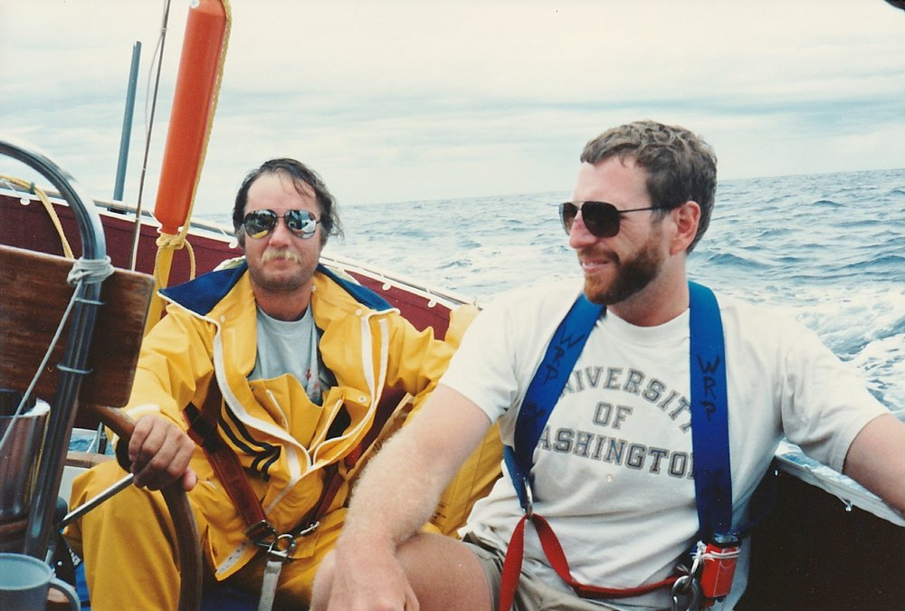 Racing to Bermuda in the '80s. This helmsman was so seasick he could not go below almost the entire race. I smashed my nose the night before when a big wave rolled us and I slipped on the slippery varnished companionway slides. One MD crew member said it was not broken and that I would live...