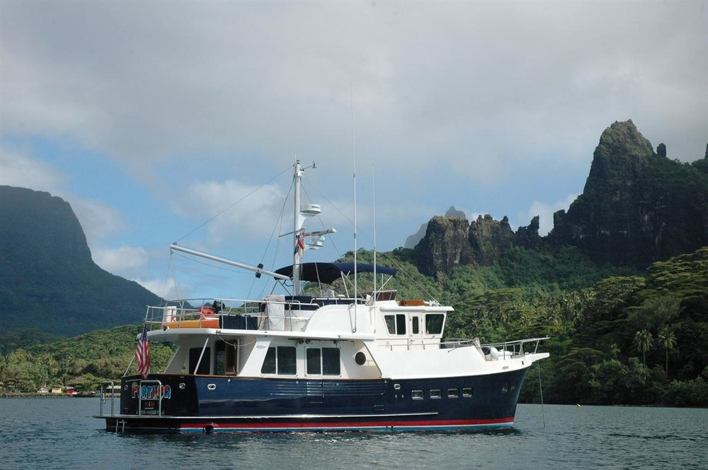 Brian Calvert's Selene 48 Ocean Trawler,  Furthur . The boat is currently in the Philippines in the Western Pacific.