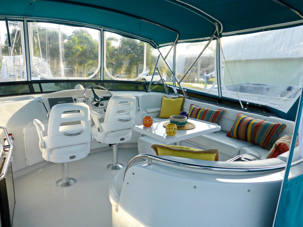 The flybridge on a sistership to  Spitfire , our PDQ 41 power catamaran, shows its many cushions, which are backed with a coated mesh that can develop mildew over time. With X-14, this is entirely managebale.