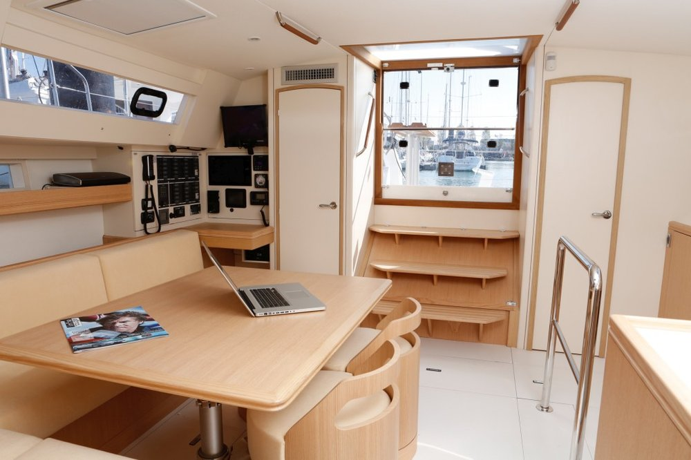 The interior of the new Alubat Ovni Evolution 52 is contemporary and so livable. It is appealing on many levels and guess what...it's a sailboat!