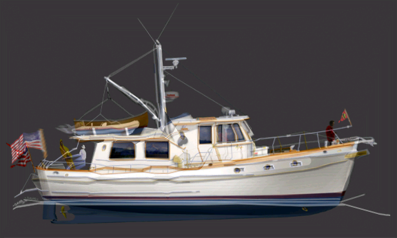 A morphed image of a cruising boat from the of lines from two different vessels. Nice looking boat!