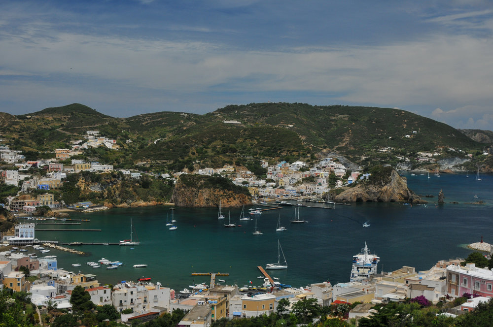 Another view of Ponza's harbor with the Inferno anchorage in the background. Once you are there, you can't get enough. It is so beautiful you can't believe it. This is something you REALLY need to do in your own boat.