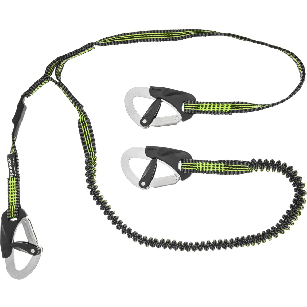 A top end safety tether secures to a person's life vest, ideally using bulletproof trigger shackles. The 1-meter short tether is good for work at the mast or other close-in location, allowing both hands to work on the matter at hand, while the longer, 2-meter tether is good for moving around the deck.