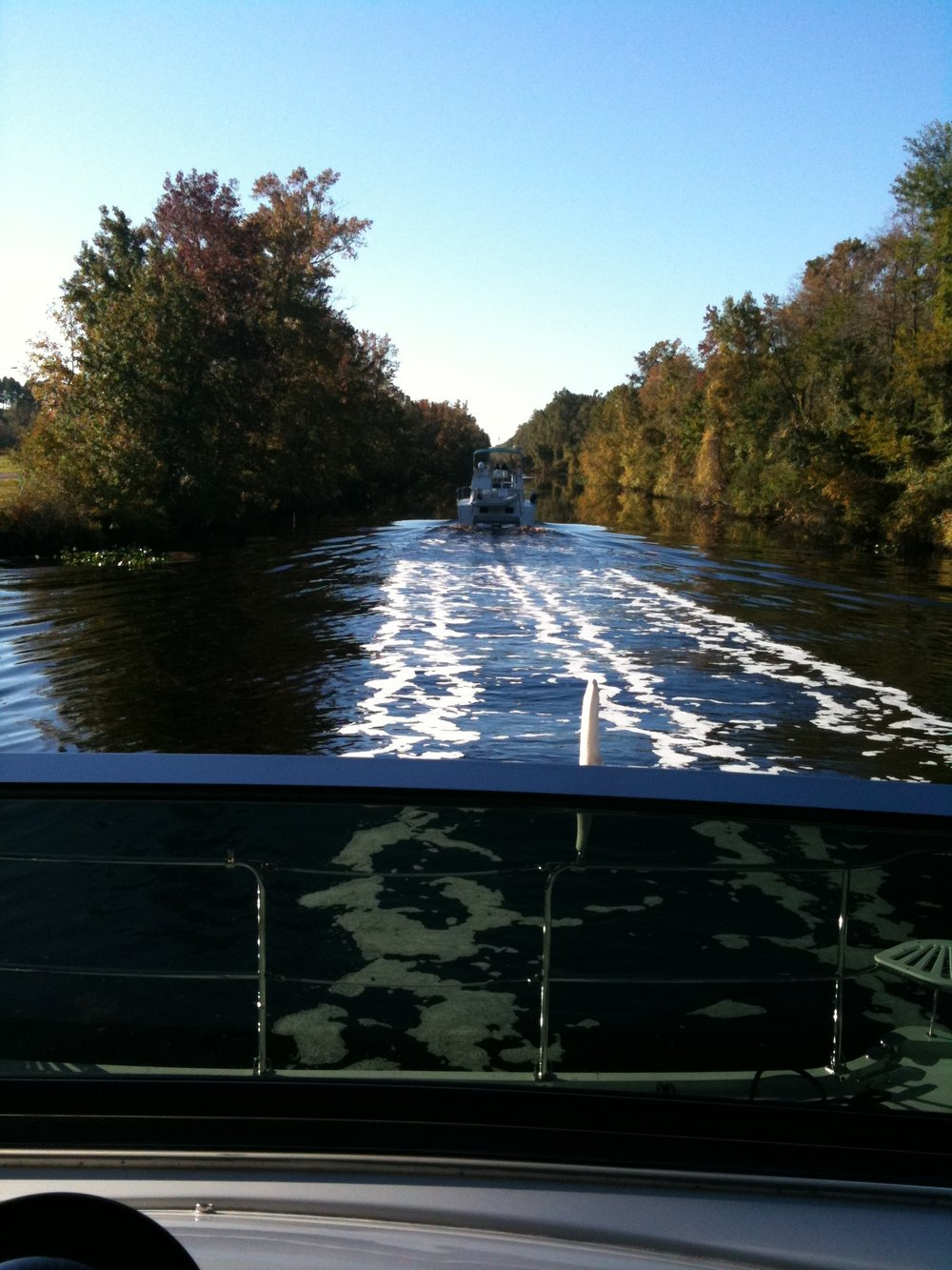 Following a power cat in the Dismal Swamp in North Carolina, as a string of trawlers and sailboats left the locks. Not much room to pass here!