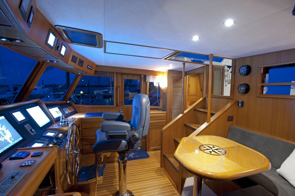 The pilothouse on the stately Fleming 55.