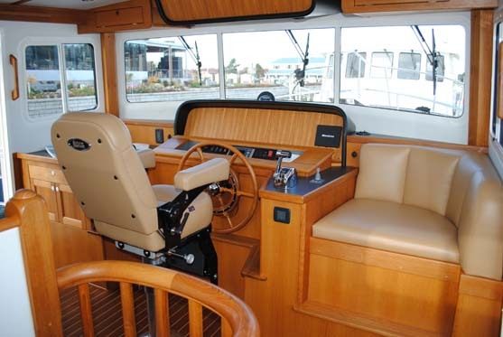 The helm chair on this Nordic 42 is from Llebroc Industries.