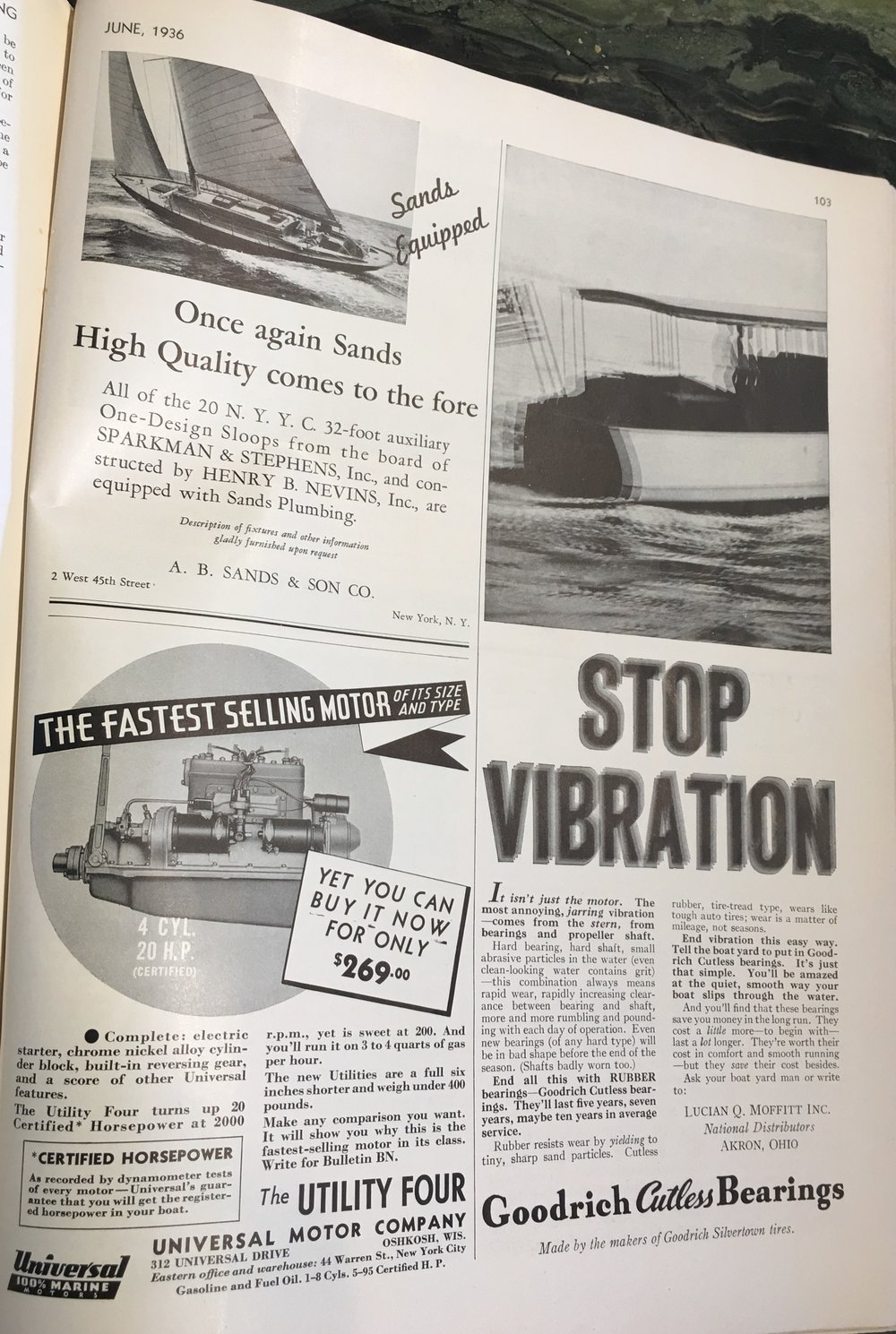 Did you know you could buy a new marine engine for under $300?  And check out this ad from Lucian Q Moffitt, part of the history of the cutless bearing. See my post  https://www.followingseas.media/blog/2017/1/30/name-that-bearing-1 . Despite what some professionals in the boating industry say, they are wrong.  It is NOT a  cutlass  bearing!