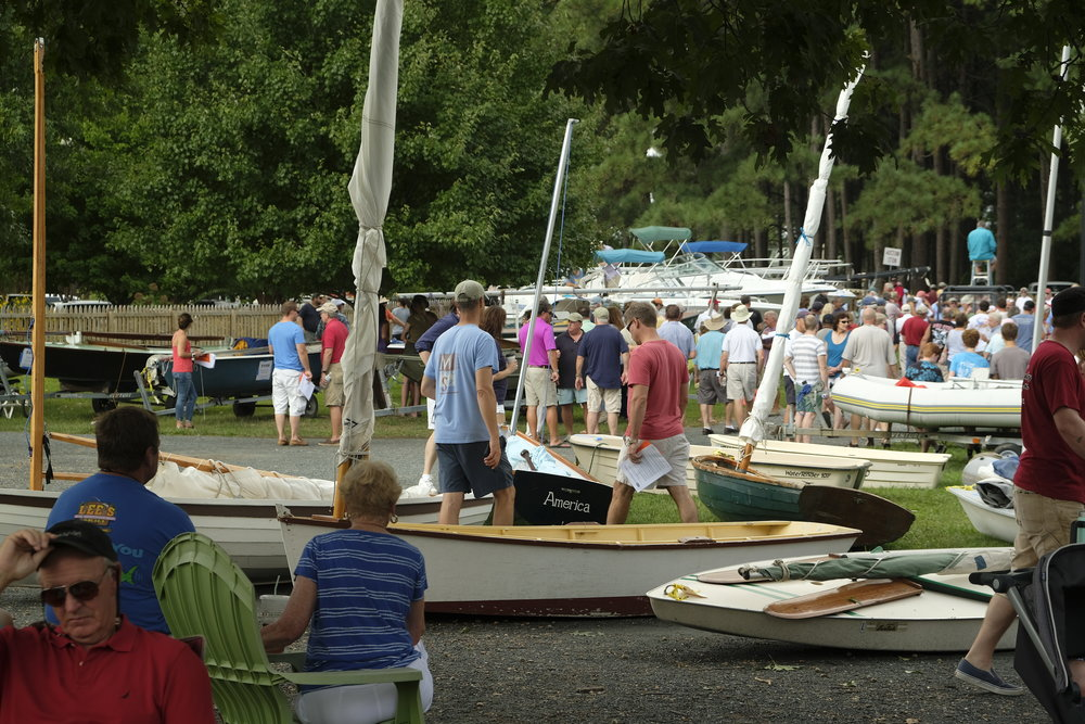 Held every year on Labor Day weekend, the CBMM auction attracts folks who want to see what there is to bid on this year. I watched a woman in a bidding war with a young man over a pre-WWII rowing skiff. He got it for $750.