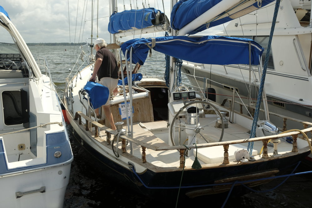 A 1969 Cheoy Lee Clipper 36 in need of a home. Thankfully the teak decks are gone!