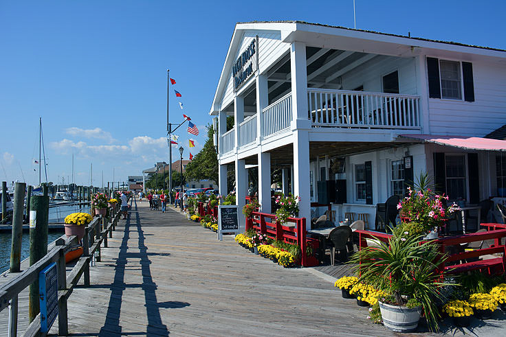 Love the downtown marina and boardwalk in Beaufort, North Carolina. Easy to lose a day playing tourist.