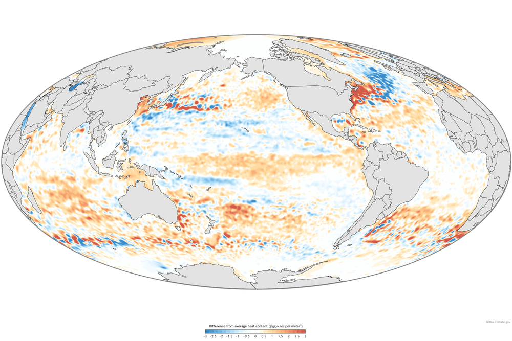 A NASA map of Ocean Heat Content.