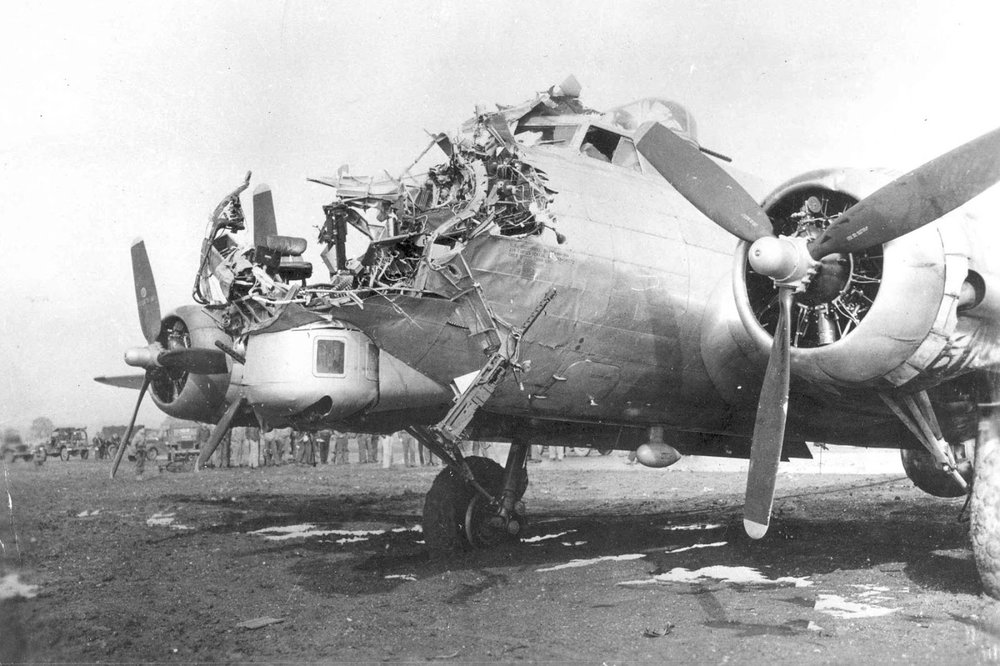 This B-17 somehow survived a mission over Cologne. These were frightful raids with staggering losses. More U.S. Army Air Corps airmen were killed in the skies over Europe than all the Marines in all the campaigns to take back the Pacific. And the RAF lost over 55,500 men, 10,000 of those were Canadian. Only 41 out of every 100 men escaped untouched, at least physically.