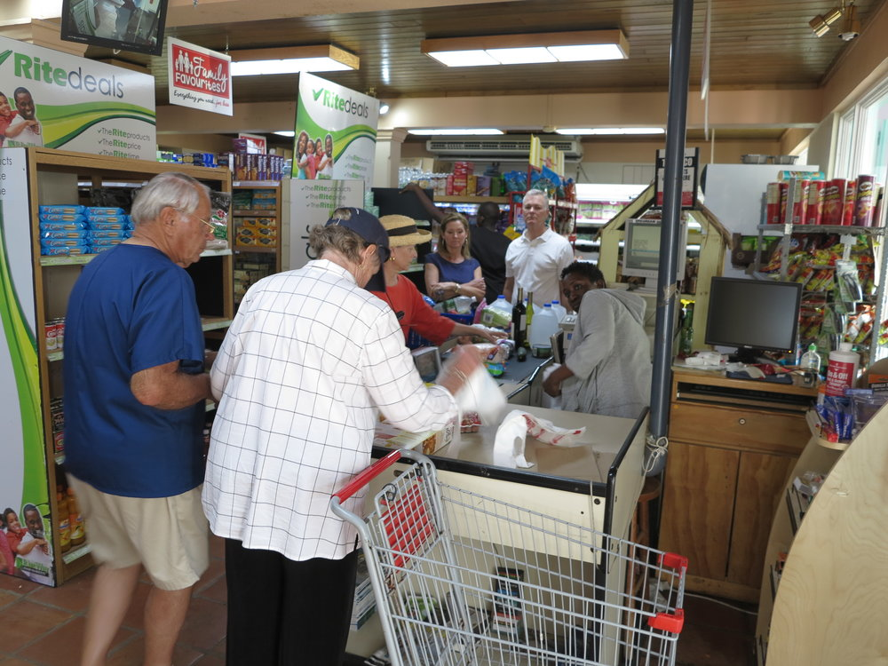 Some grocery stores, such as this one in Soper's Hole, BVI, are well stocked because of the many charter boats cruising the area.