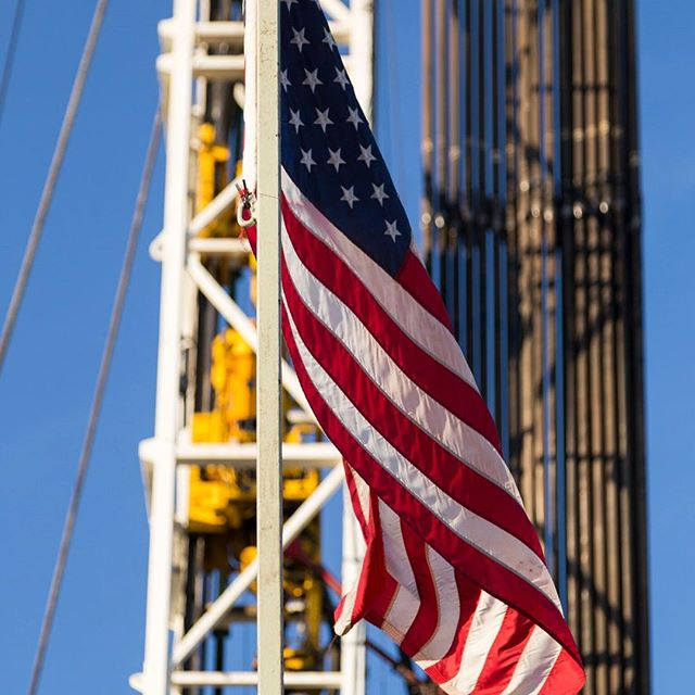 Friday's from the field - Flying old glory on Cactus 136 in Hughes County, OK #TulsaDrillers #naturalgas #oklahomaenergy #arkomabasin #drilling #thisisoklahoma