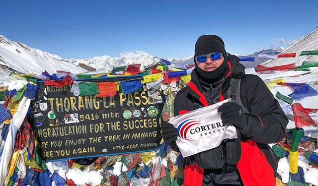 Many thanks to Mike Whittington for flying the Corterra flag on his trip across the Himalayas. This picture was taken in Thorang La Pass in Central Nepal at an altitude of 17,769 feet! #Exploration #Explorers #NewFrontiers