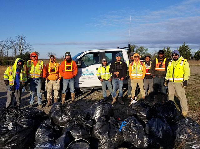 Friday's from the field - Big thanks to Paragon Geo crew 211. The gentlemen pictured went above and beyond and volunteered to use their free time to pick up trash along the roads in Hughes County, OK. They had quite a haul. #ArkomaBasin #Exploration #Heartland #seismic #DontLitter