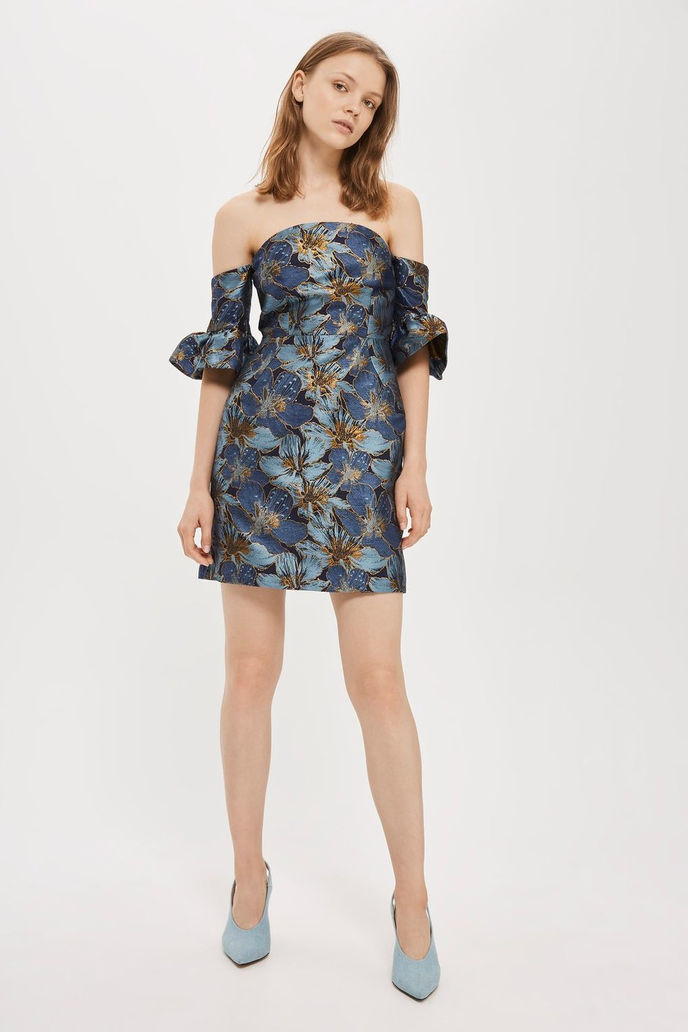 Flute Sleeve Bardot Mini Dress  from Top Shop - $130