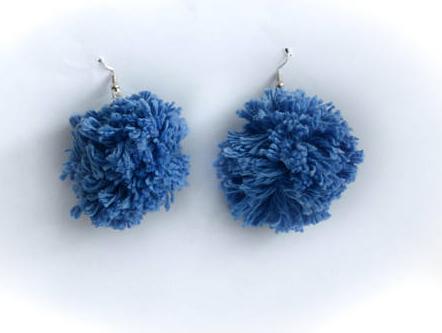 Blue Yarn Pom Pom Earrings from Etsy