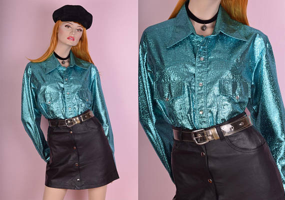 Aqua Metallic Button Down Shirt - Etsy - $48.50