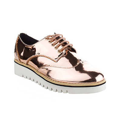 Patent Metallic Leather Lace Up Oxford Sneakers - Cape Robbin - $34.19