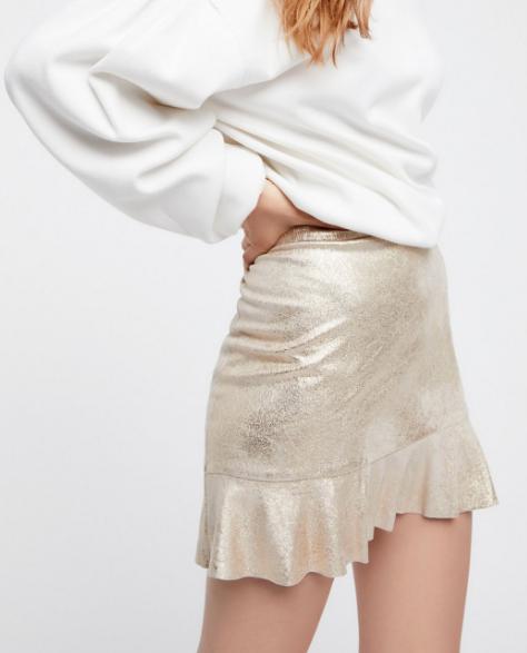 Gold Combo Metallic Mini Skirt - Free People - $78