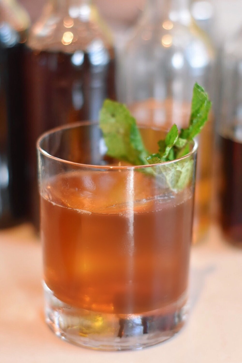 Bourbon and Cognac Cocktail Made with Mint and Black Tea