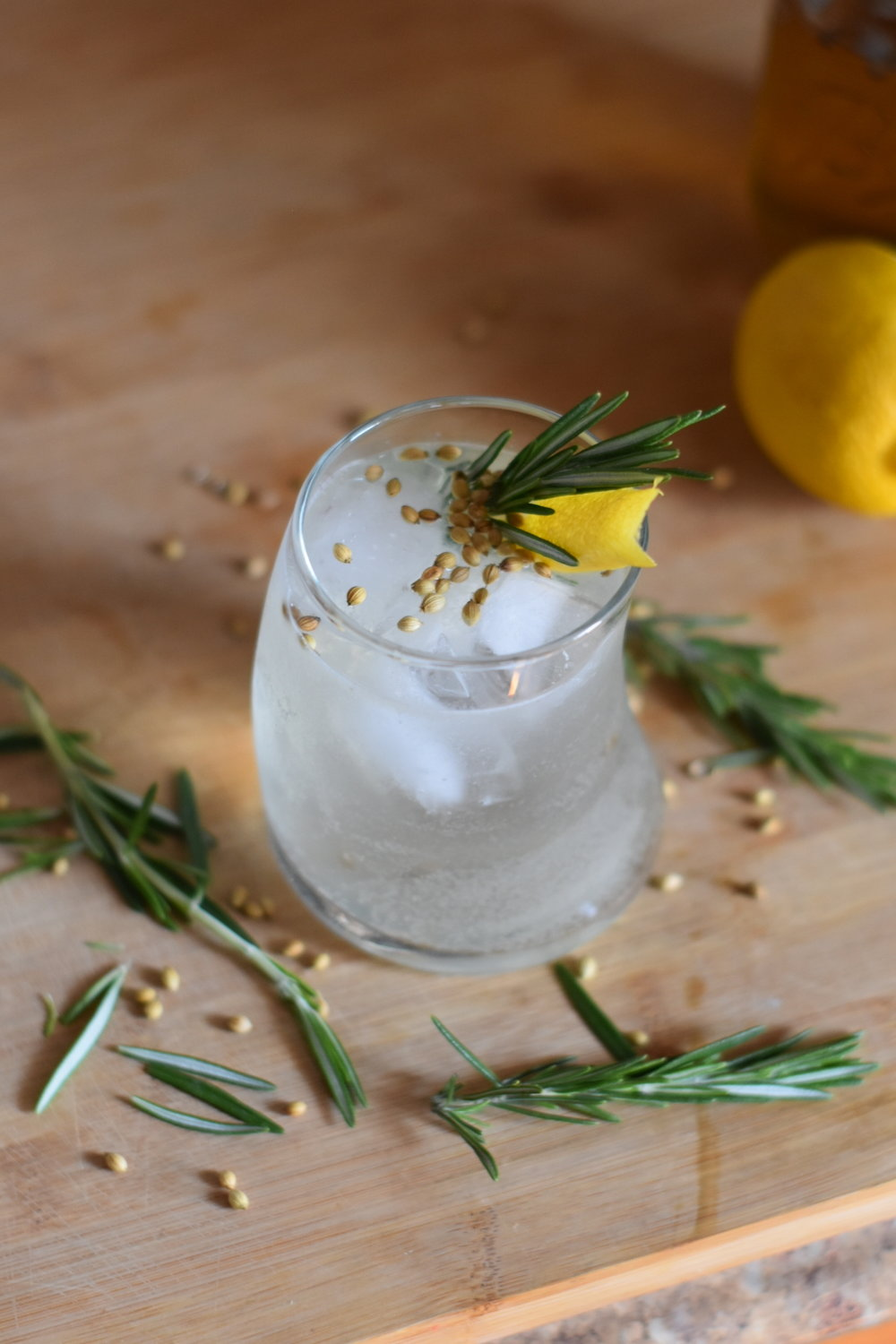 Lemon Coriander and Rosemary Fizz - Let's Get Going