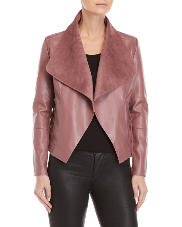 Faux Leather Open Jacket - $39.99