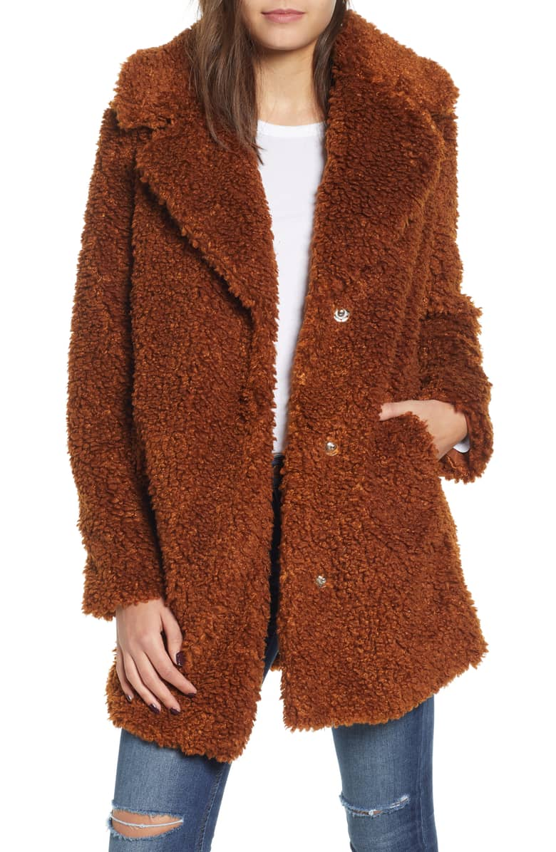 Kensie Faux Shearling in Rust - $128