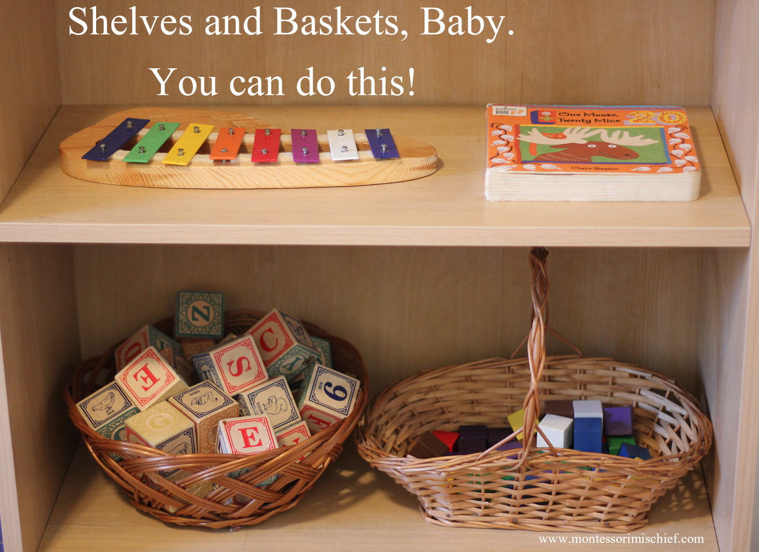 Creating a Montessori environment in your home doesn't have to be overwhelming!  Start with shelves and baskets.  Beginning Montessori  from www.montessorimischief.com