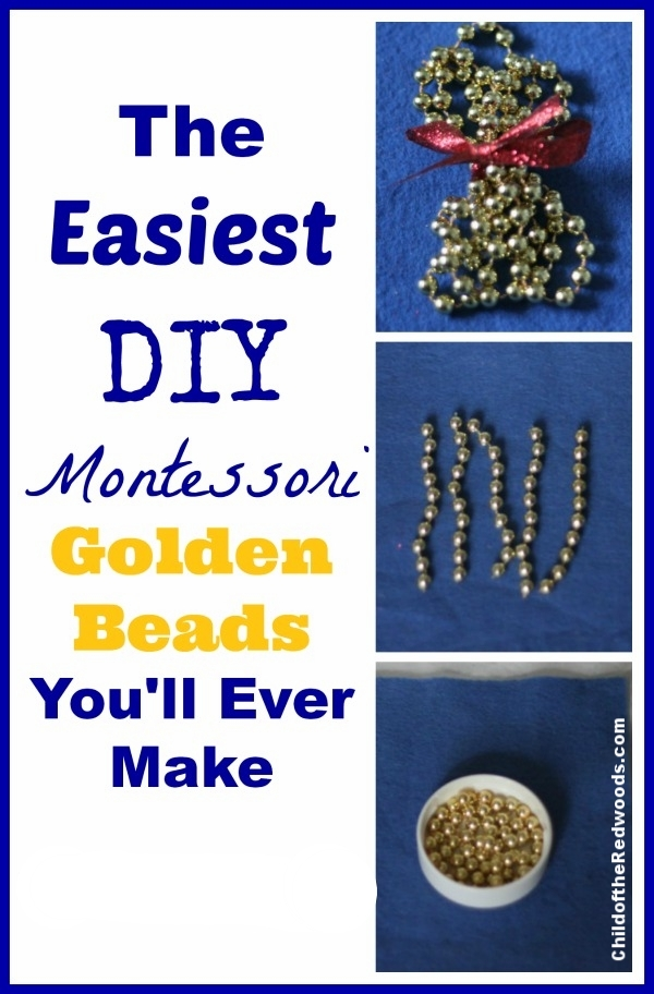 Golden beads for $3 in 5 minutes? YES it's POSSIBLE! And they look amazing! - from Montessori Mischief