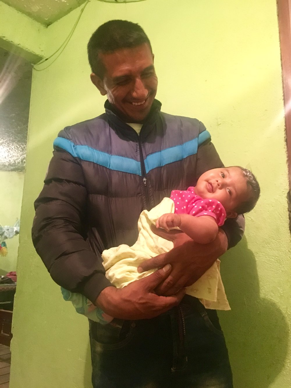 Fercho Adarme Ordoñez, our generous host, project partner, one of the most well respected members of the Inga community, and general badass lovingly holds his 4 month old daughter Fercha Alejandra.