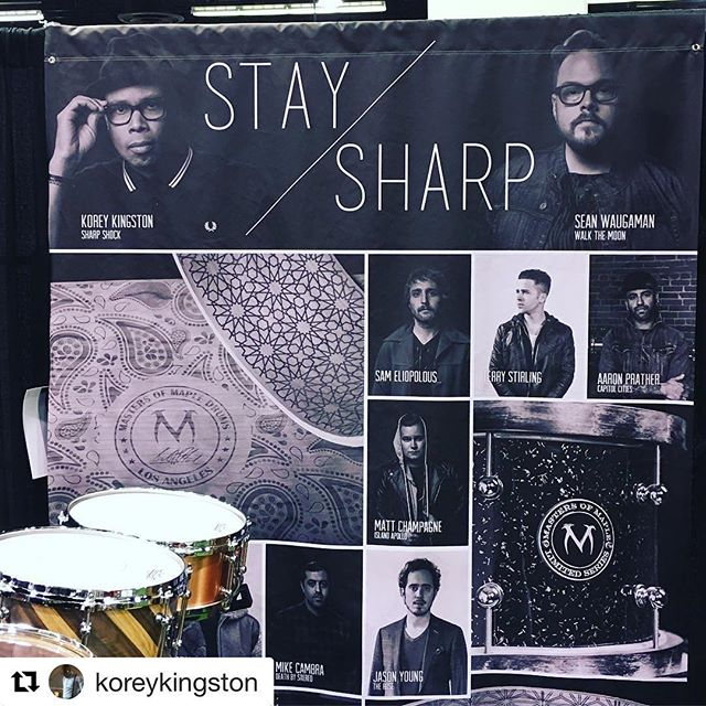 Thanks @mastersofmaple NAMM 2017 was great. So nice catchin up with lotsa ol' friends. Honored to be up here on the #staysharp backdrop with my amigos.  #Repost @koreykingston with @repostapp ・・・ Super stoked to be part of this family and to play @mastersofmaple #drums #mastersofmaple I am HONORED to be on their banner at the #2017nammshow booth next to Sean from @walkthemoonband as well as my other friends. #staysharp