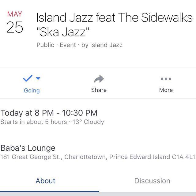 TONIGHT!! Show starts at 8pm at @babaslounge @babascedars for @islandjazzpei admission by donation! #ska #alternative #skalternative #charlottetown #pei #bltn #allhornsmatter #trombony2012