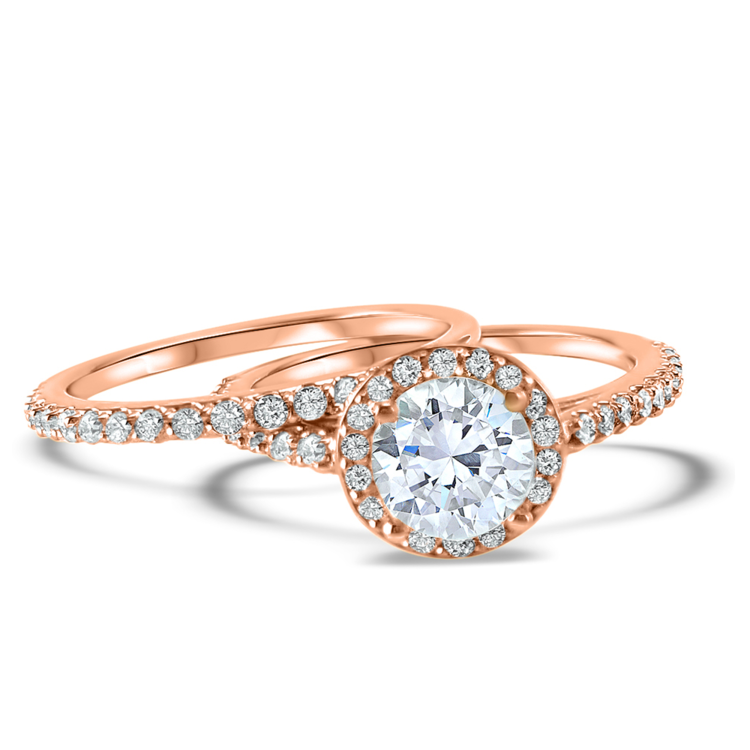 Rose Gold Halo Diamond and Moissanite Engagement ring and wedding